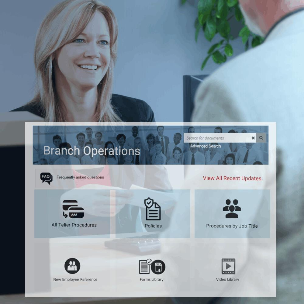 Example banking Branch Operations portal home page.